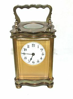 * Antique French Bronzed Finish Brass Carriage Clock with Key Working Order (31)