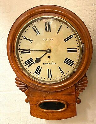 * Antique Oak Drop Dial Chain Fusee Wall School Station Clock FOSTER MANCHESTER
