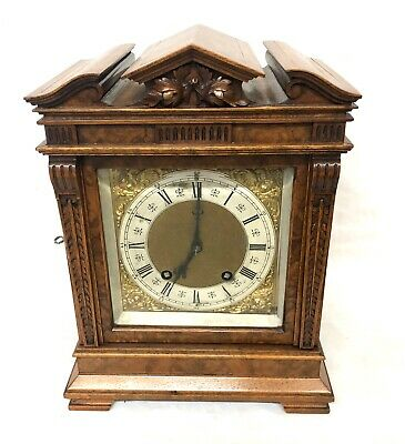 * Antique LENZKIRCH Walnut & Burr Walnut TING TANG Bracket Mantel Clock WORKING
