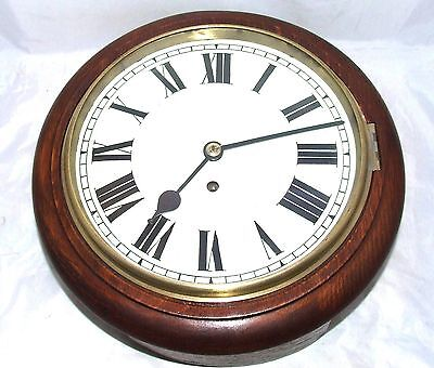 "* Antique 10"" Dial Mahogany Chain Fusee Wall School Clock CLEANED SERVICED"