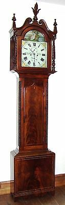 * Antique Inlaid Mahogany Longcase Grandfather Clock THOMAS DE GRUCHY JERSEY