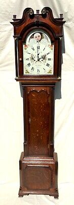 * Antique Rolling Moon Oak & Mahogany Longcase Grandfather Clock CALLCOTT MALPAS