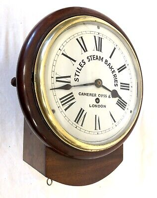 * Antique CAMERER CUSS LONDON Mahogany Fusee Wall Clock STILES STEAM BAKERIES