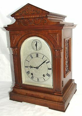 * Antique LENZKIRCH Walnut TING TANG Bracket Mantel Clock : SERVICED & WORKING