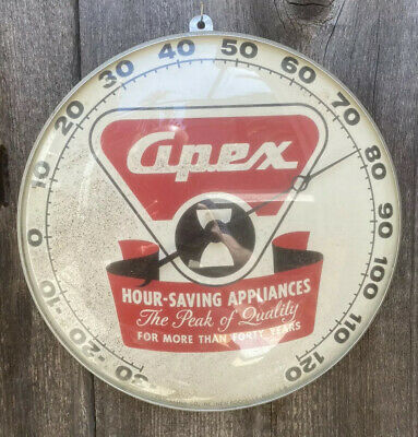 Extremely Rare Vintage Apex Appliances PAM Thermometer With Glass Face- Works!!!