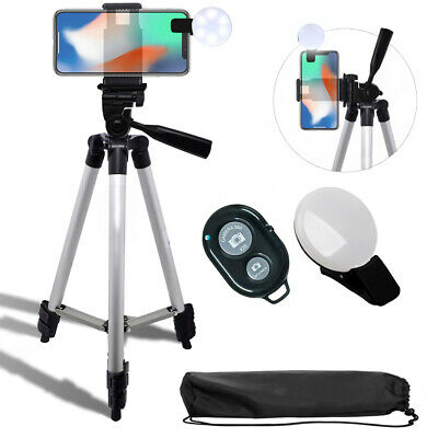"""50"""" Inch Tripod + Smartphone Mount and Selfie LED for iPhone Xr 11 Pro Xs S10"""