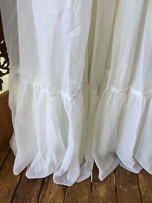 "Vintage Sheer White Long Shear Curtain- Ruffles On Bottom- 92"" X 100+ """