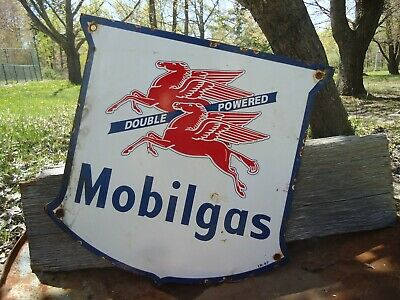 Vintage Old Dated 1947 Mobilgas Double Powered Porcelain Gas Station Ad Sign