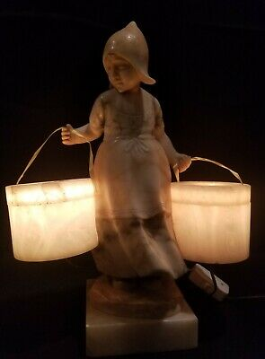 Antique Alabaster Girl With Buckets Lamp