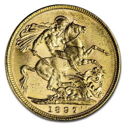 1897-M Australia Gold Sovereign Victoria Veiled Head BU - SKU#212438