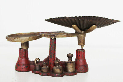 Antique Red Cast Iron Pharmacy Scale with Weights