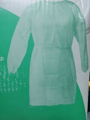 10 Green Medical Dental Isolation Gown with Knit Cuff Regular Size Gowns