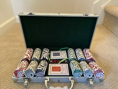 300 Royal Flush Poker Chip Set 11.5 Cards Game With Aluminum Case & Dices