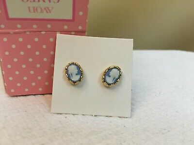 Vintage 1976 Avon Child's Cameo Princess Pierced Earrings - Surgical Steel Posts