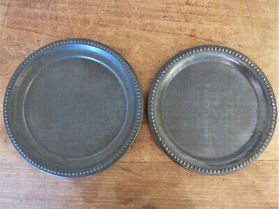 Antique 19th C 1900s PAIR 2 Embossed Engraved NUMBERS ABC Tin CHILDS Plates TOY