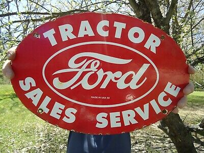 Large Old Vintage 1959 Ford Tractor Sales-Service Porcelain Dealership Sign