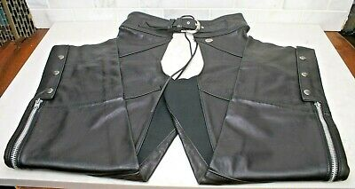 Black Brand Mens Leather Degree Chaps Motorcycle Chaps BB3084 Black, Large