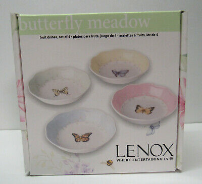 Fruit Dish Set 4 Fruit Condiments Candy Nuts Small Lenox Butterfly Meadow New