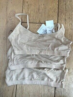 marks and spencer pack of 3 cotton crop top bras nude beige 9 to 10 y bnwt