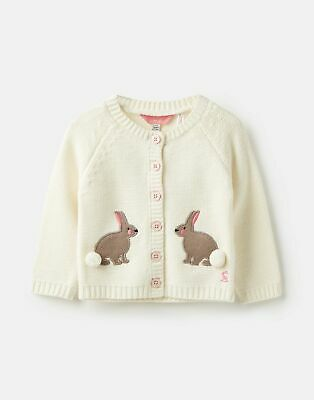 Joules Baby Girls Dorrie Knitted Cardigan Sweater - CREAM BUNNIES Size 0m-3m