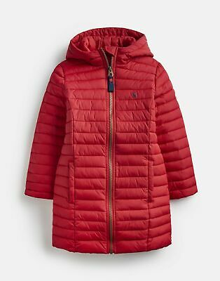 Joules Girls Longline Kinnaird Packable Coat  - RED Size 4yr