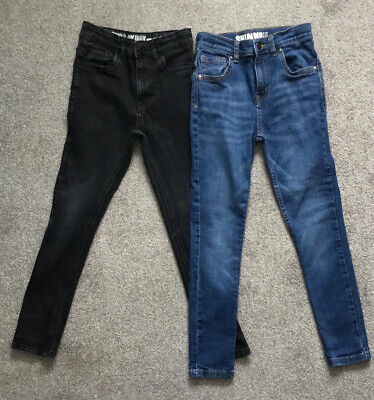 Job Lot 2 Pairs Boys Denim Blue & Black Faded Skinny Jeans Age 9 YRS. In G. Cond