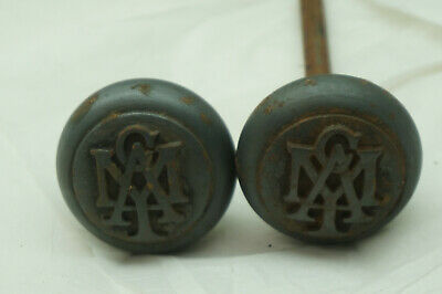 Vintage Door Knobs Cast Iron Ymca Emblematic Architectural Salvage Doorknob