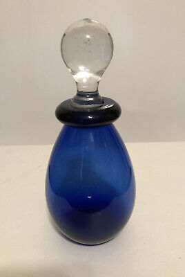 """Cobalt Blue Perfume Bottle With Glass Stopper 7 1/2"""""""