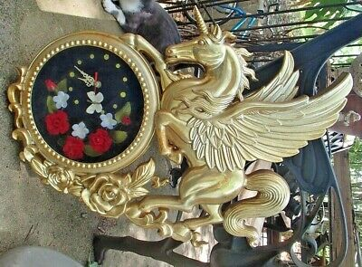 Large Vintage Unicorn Quartz Clock w/ Floating Butterfly Roses Mythical Taiwan