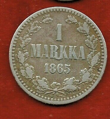 Finland 1865.S..1-Marka  ...Silver... 5.18 Grams    Mintage 1,673,000
