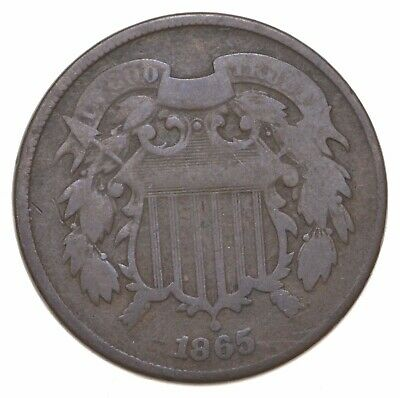 **TWO CENT** 1865 US TWO 2 Cent Piece - 1st Coin with In God We Trust Motto *519