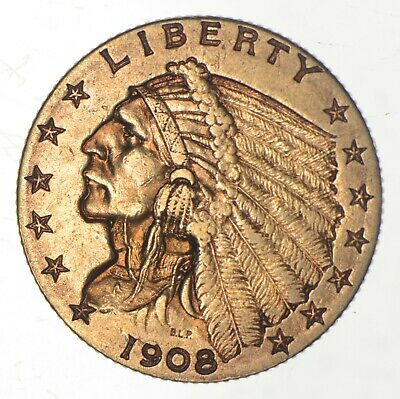 $2.50 United States 90% US Gold Coin - 1908 Indian - No Reserve *682