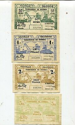 New Caledonia Noujmea Set Of 4 Notes 50 Cents To 5 Francs Vf Nr 17.95