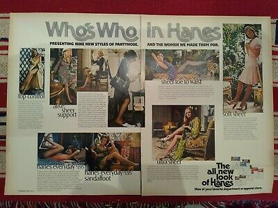 """1973 2 page """"Who's Who In Hanes"""" multi picture pantyhose stockings hosiery ad"""
