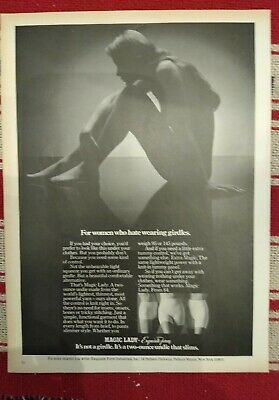 """1973 Exquisite Form Magic naked  Lady """"for women who hate wearing girdle"""" ad."""