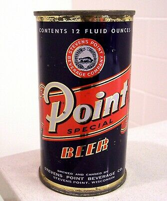 **sharp 1st version c 1950s POINT indoor flat top beer can from Stevens Point WI