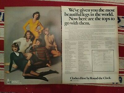 1973 Round-the-clock pantyhose tights hosiery & leotards 2 page ad + formfit ad