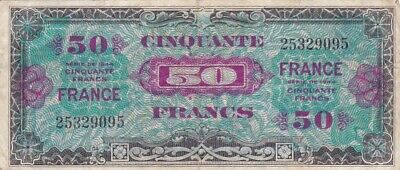1944 France 50 Francs Allied Military Currency Note, Pick 122a