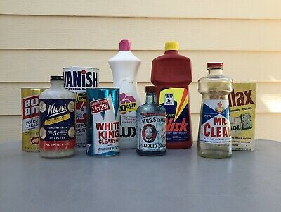 Vintage Household Cleaners Lot-(empty)Mr. Clean, Mrs. Stewart's Blueing, Soilax