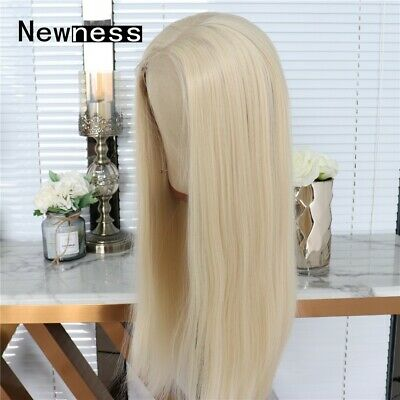 AU 24inch Synthetic fiber Lace front wigs Natural Straight Women Bleach Blonde