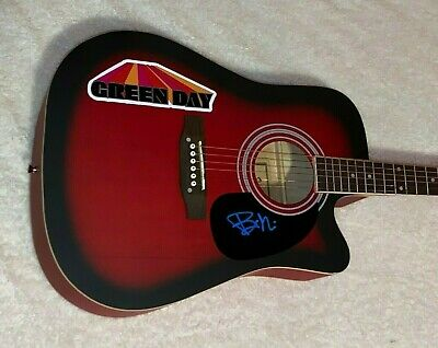 Billie Joe Armstrong Green Day Signed Autographed F/S Red Acoustic Guitar Proof