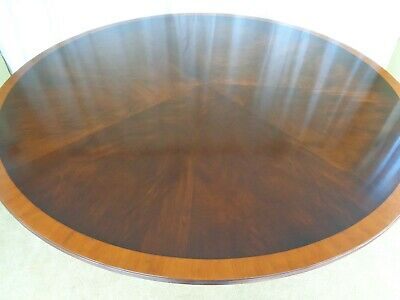 LARGE 6ft CIRCULAR MAHOGANY DINING TABLE ANTIQUE STYLE ROUND INLAID TOP