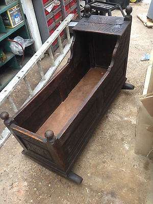 Antique Carved Oak Baby Cradle Cot Crib (we had this w/ Four Poster - see Video)