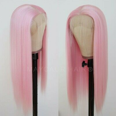 AU 24inch Synthetic Lace front wigs Fashion Natural Straight White Pink