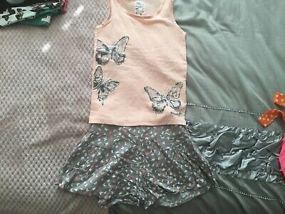 Girl's Matthew Williamson Butterfly outfit set 8-9 peach, white and taupe sequin