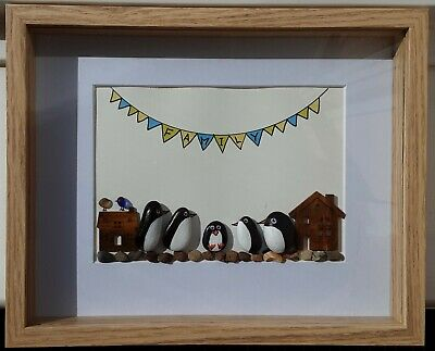 Pebble art picture-penguin Pebble and sea glass box framed picture.