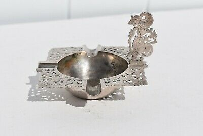 Unusual Antique .800 Silver Cut Out Cigarette Ashtray