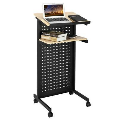 Mobile Wheeled Lectern Standing Podium Lecture Speech Office School Furniture