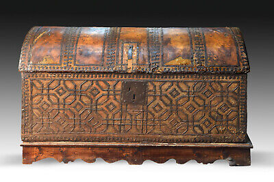 Chest with geometric design. Leather, iron. Spain, circa 1500.