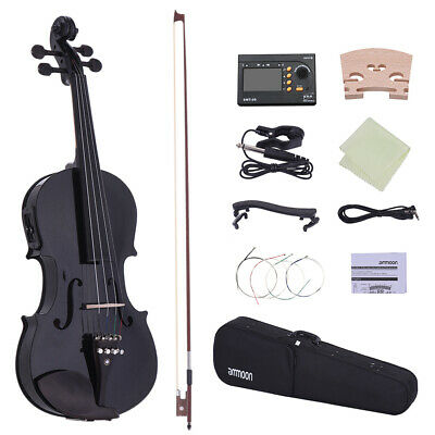 Full Size 4/4 Acoustic Electric Violin Fiddle Wood Body Ebony Fingerboard W7P6